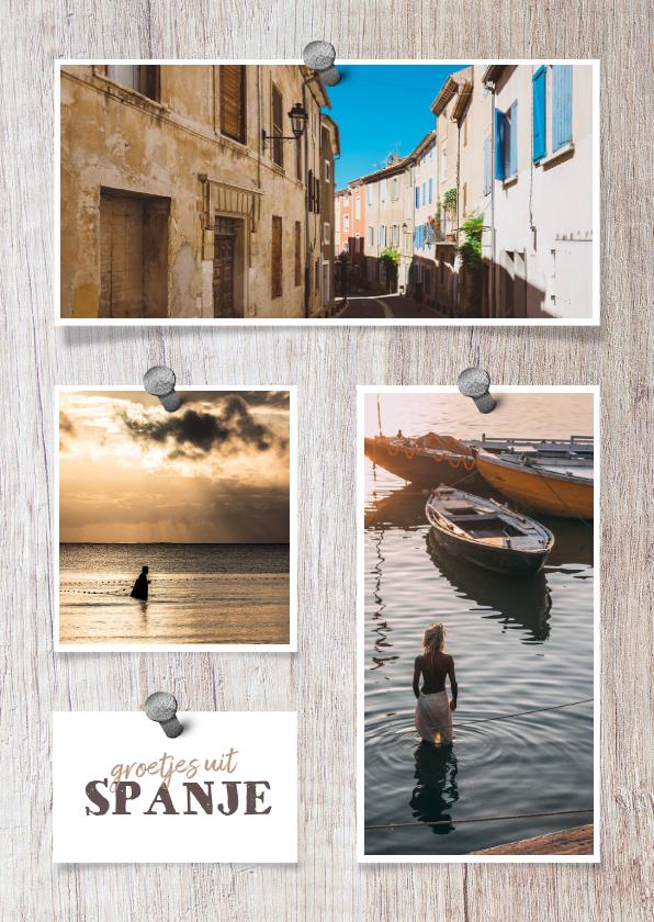 Vakantiekaarten - Vakantiekaart hout met foto's en spijkers