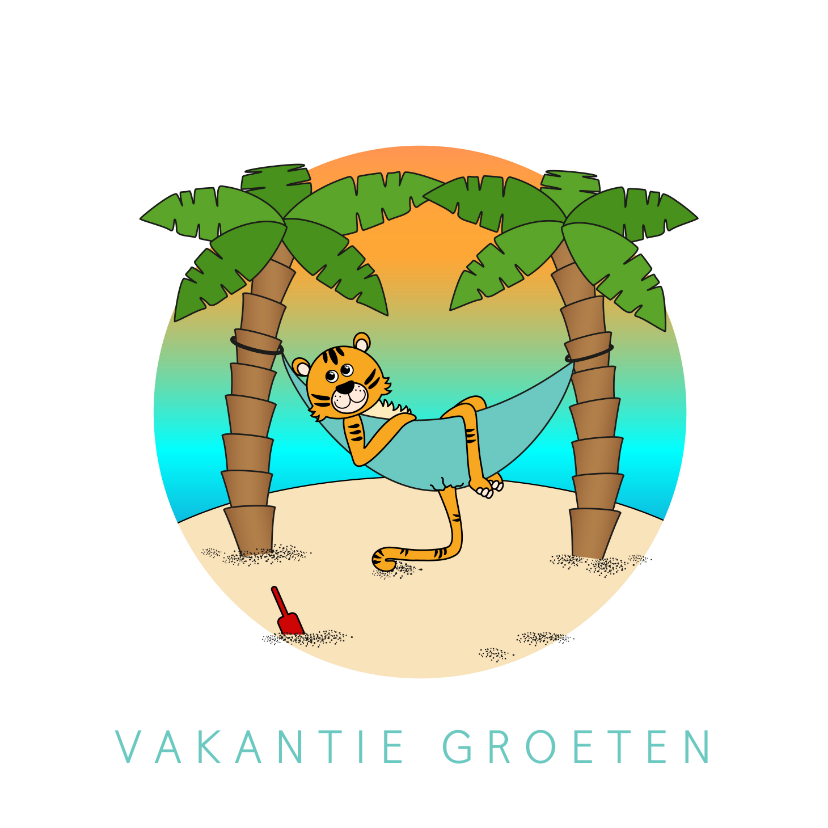 Vakantiekaarten - Vakantiekaart kleurplaat aan binnenzijde Tijger op 't strand