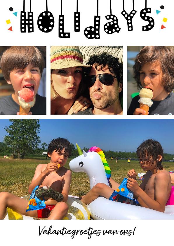 Vakantiekaarten - Vakantiekaart met eigen foto's  en holidays slinger