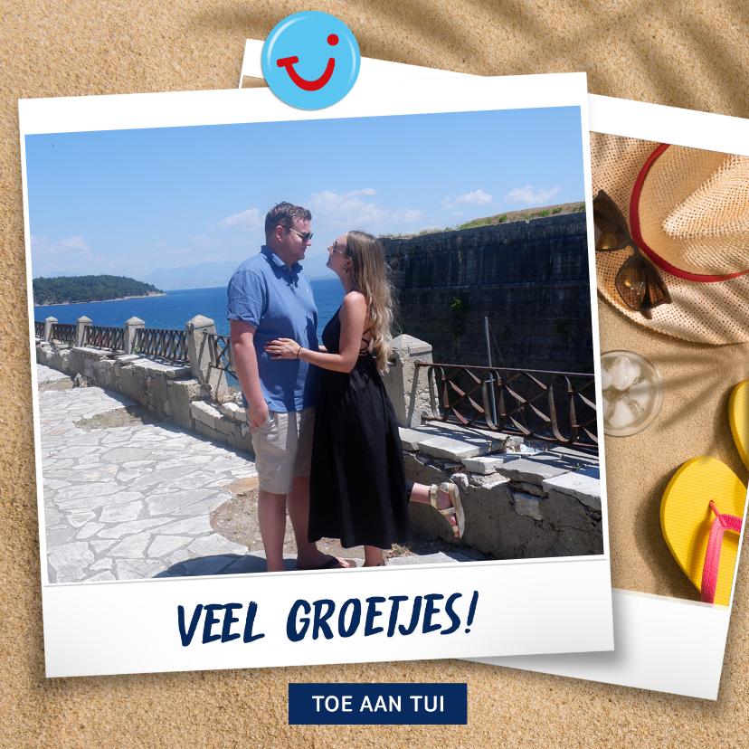 Vakantiekaarten - Vakantiekaart met eigen foto strand en groetjes uit