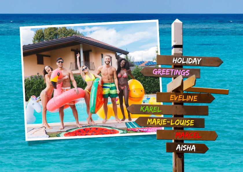 Vakantiekaarten - Vakantiekaart met eigen foto, wegwijzer en zee