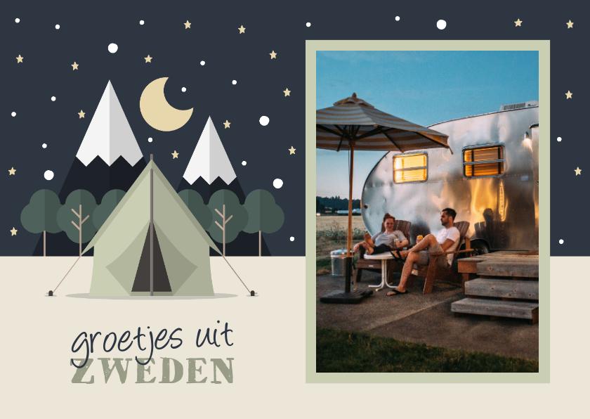 Vakantiekaarten - Vakantiekaart met foto en tent met sterrenhemel