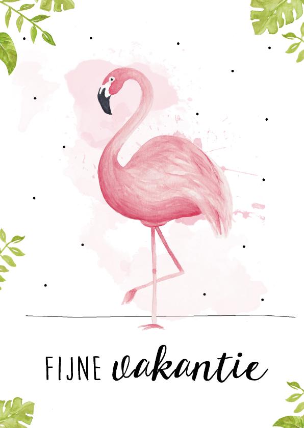 Vakantiekaarten - Vakantiekaart met roze flamingo, fijne vakantie!
