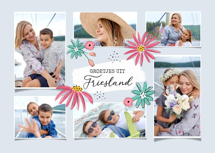 Vakantiekaarten - Vakantiekaart met zes foto's groetjes uit en bloemen