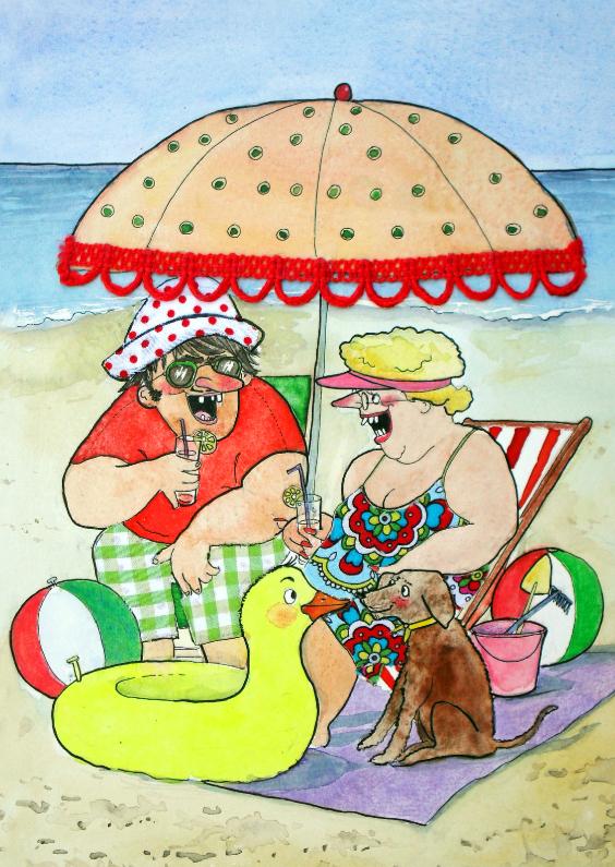 Vakantiekaarten - Vakantiekaart onder de parasol