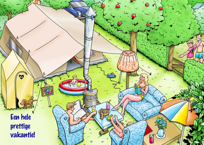 Vakantiekaarten - Vakantiekaart prettige vakantie voor kampeerders