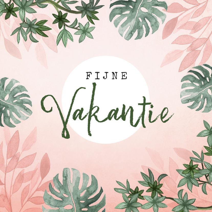 Vakantiekaarten - vakantiekaart roze jungle botanisch