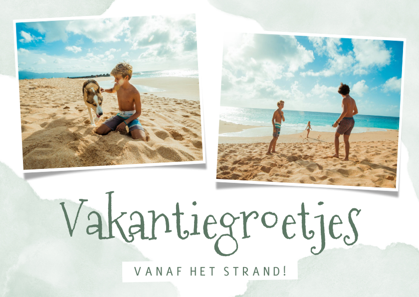 Vakantiekaarten - Vakantiekaart vakantiegroetjes met waterverf en foto's
