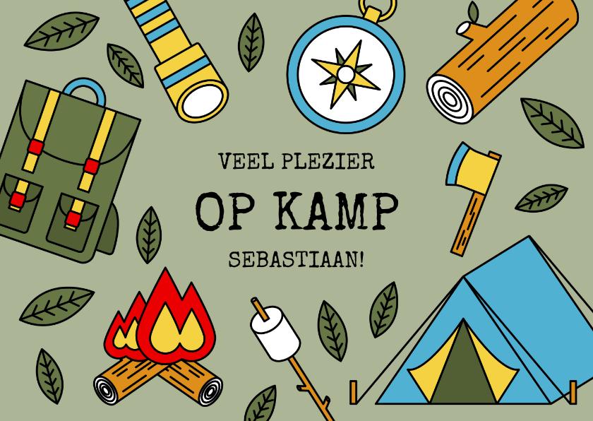 Vakantiekaarten - Vakantiekaart 'Veel plezier op kamp' met kampeerspullen