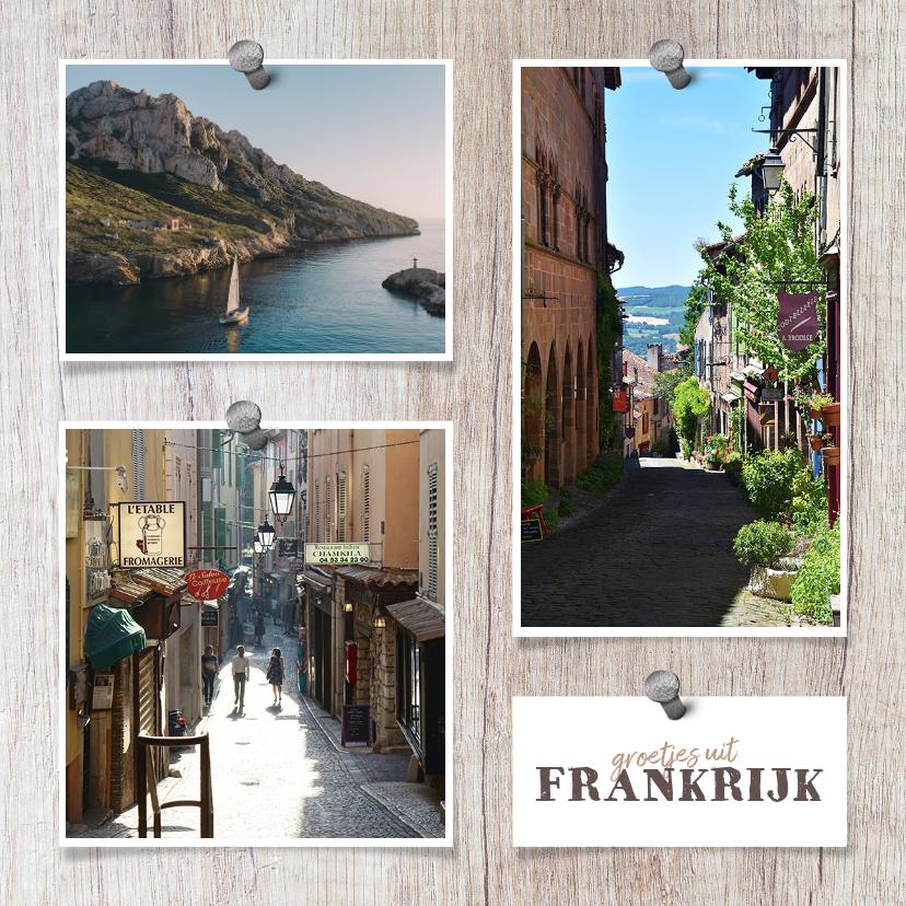 Vakantiekaarten - Vakantiekaart vierkant hout met foto's en spijkers
