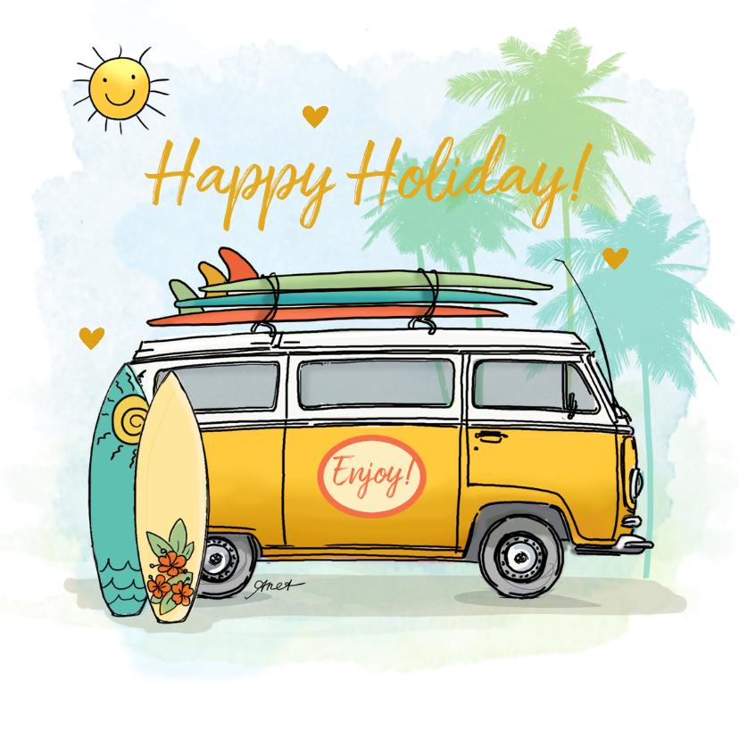 Vakantiekaarten - Vakantiekaart Volkswagenbusje surfplanken