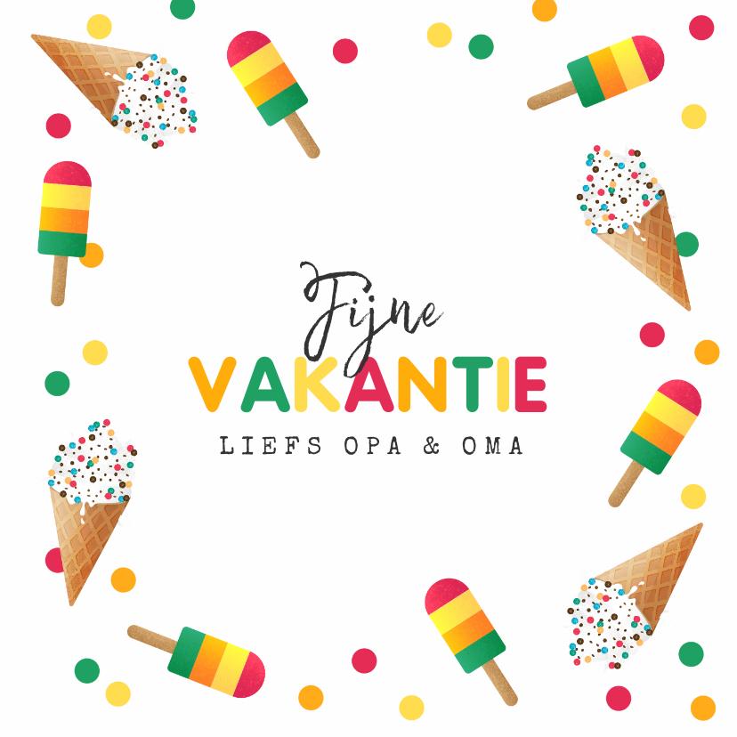 Vakantiekaarten - Vakantiekaart vrolijk zomer ijsjes confetti fijne vakantie