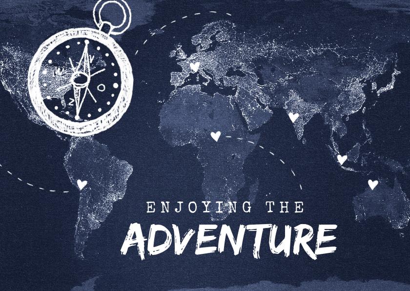 Vakantiekaarten - vakantiekaart wereldreis roadtrip kaart wereld