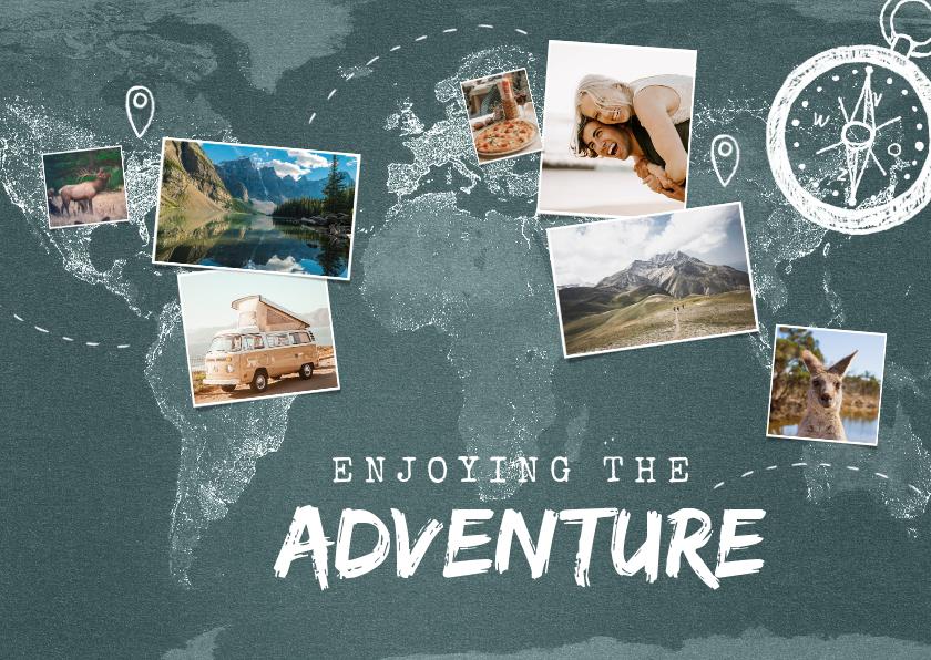Vakantiekaarten - Vakantiekaart wereldreis wereldkaart fotocollage