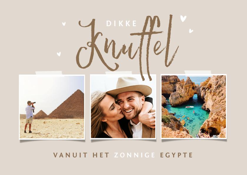 Vakantiekaarten - Vakantiekaart zandkleur dikke knuffel hartjes fotocollage