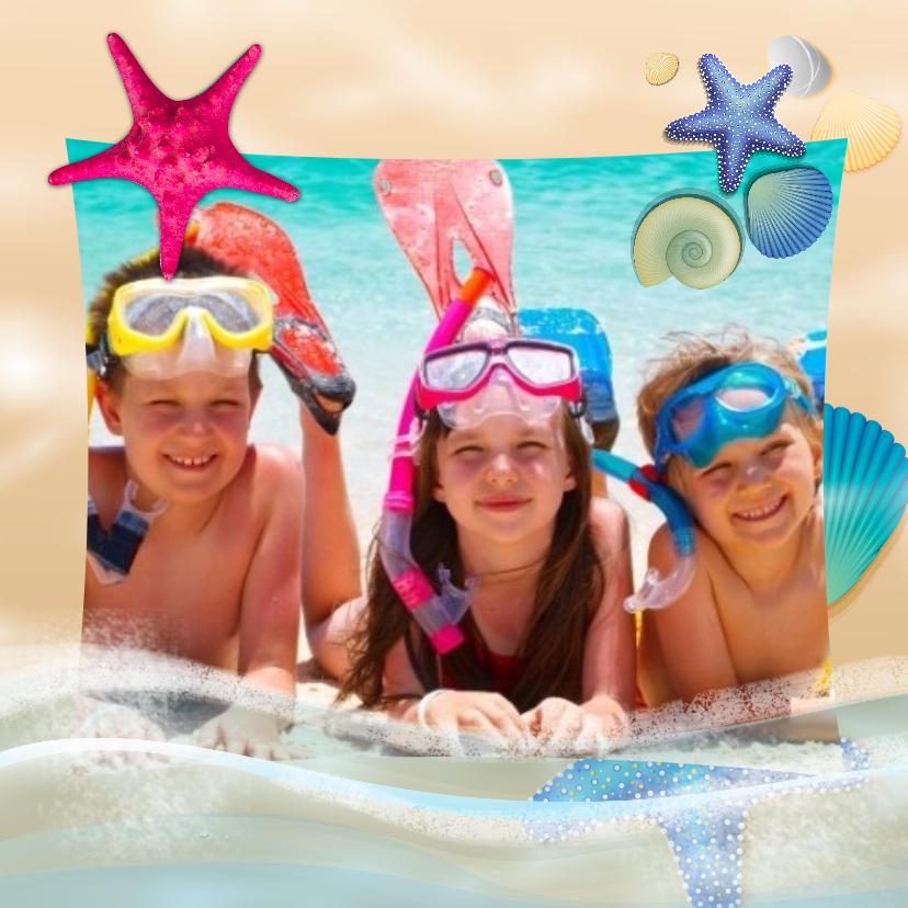 Vakantiekaarten - Vakantiekaart zeesterren schelpjes