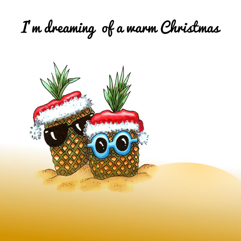 Vakantiekaarten - Vakantiekaarten ananassen met kerstmuts