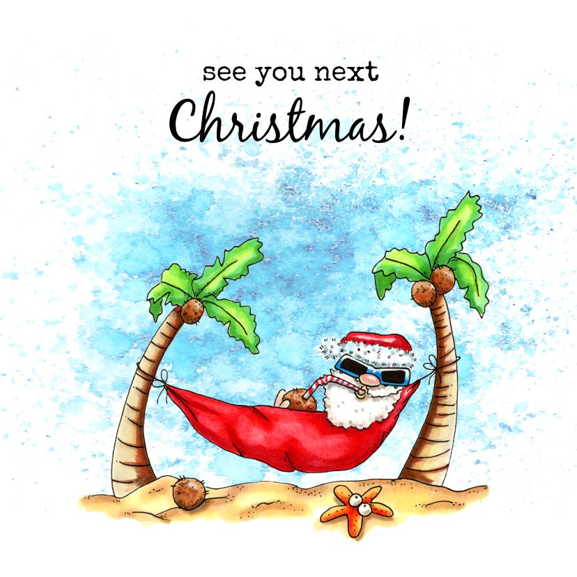 Vakantiekaarten - Vakantiekaarten kerstman in hangmat