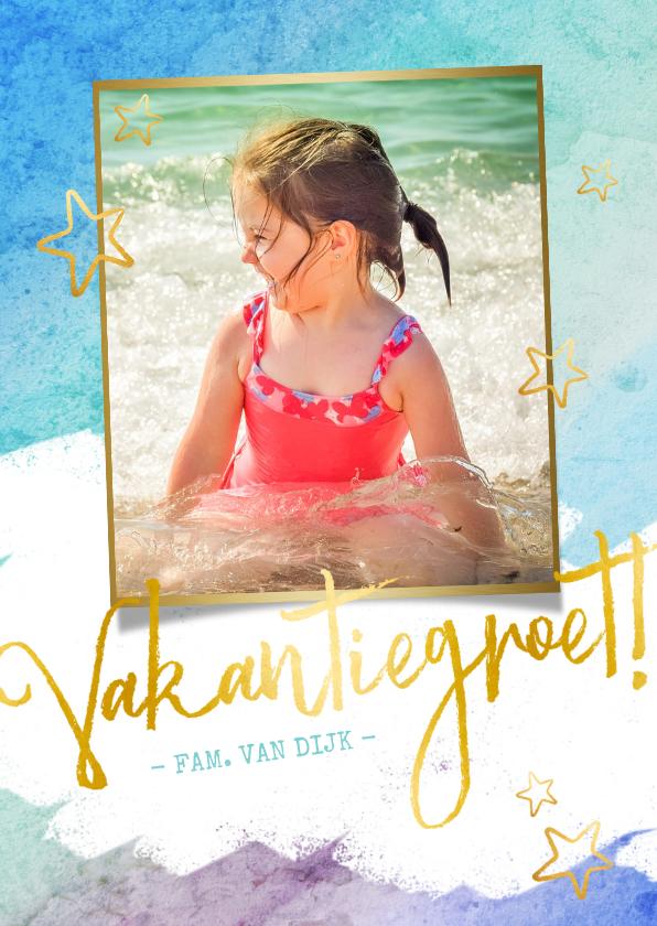 Vakantiekaarten - Vrolijke strand vakantiekaart met eigen foto en waterverf