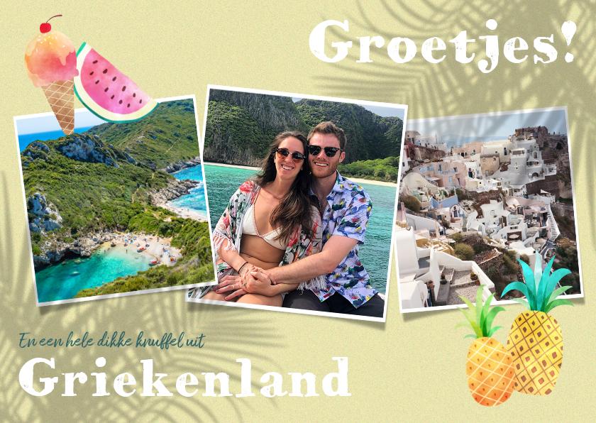Vakantiekaarten - Vrolijke vakantiekaart met planten, fotocollage en fruit