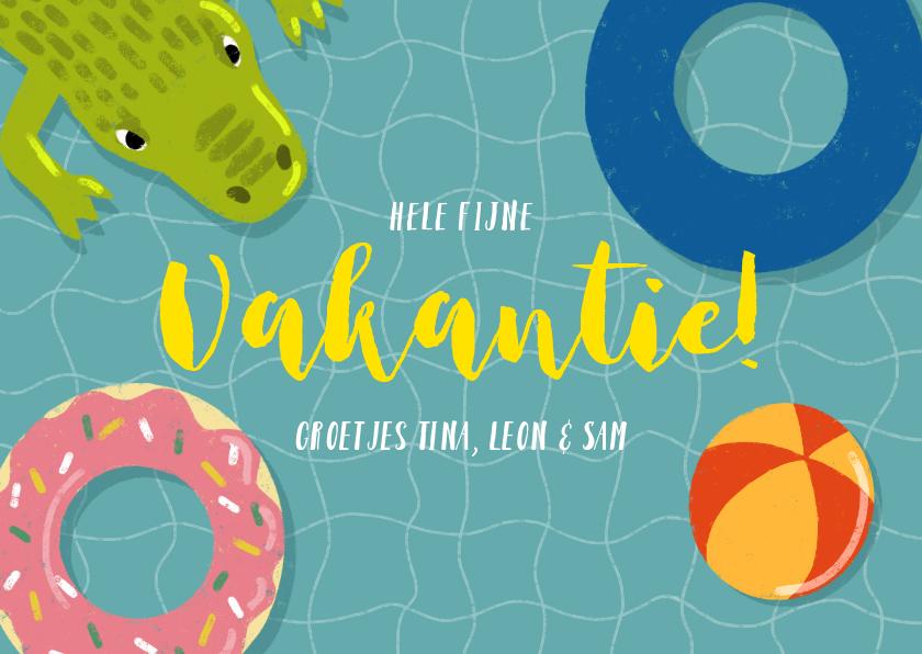 Vakantiekaarten - Vrolijke vakantiekaart zwembad met zwembanden en krokodil