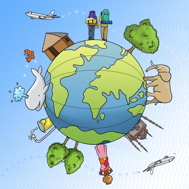 Vakantiekaarten - Wereldreis kaart