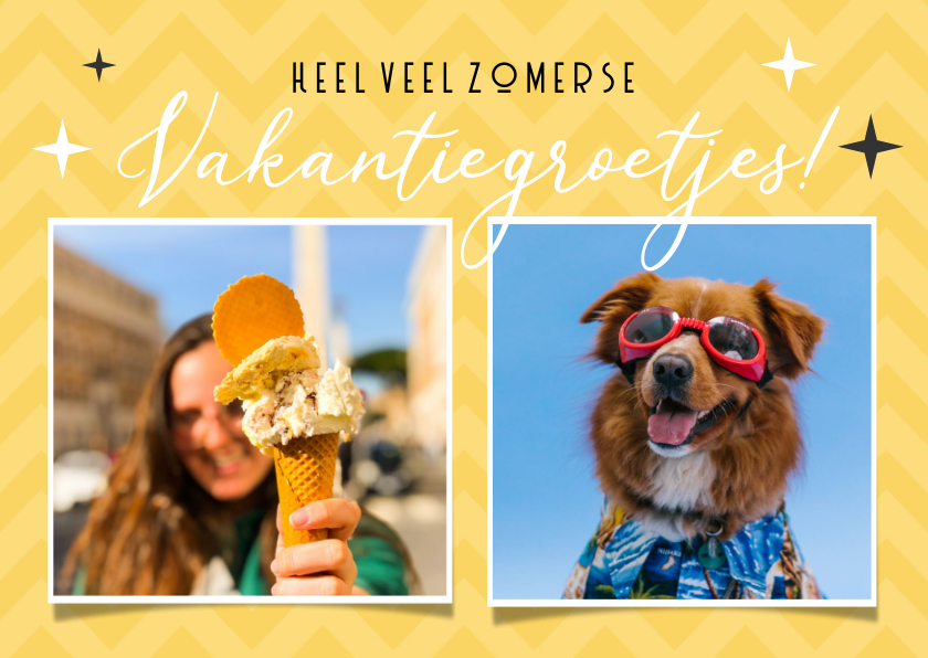 Vakantiekaarten - Zomerse gele vakantie ansichtkaart met 2 eigen foto's