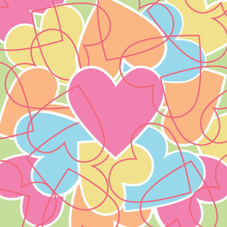 Valentijnskaarten - 4k Hartjesserie pastel nummer4
