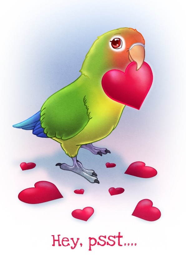 Valentijnskaarten - Chiwowy Valentijnskaart met dwergpapegaai
