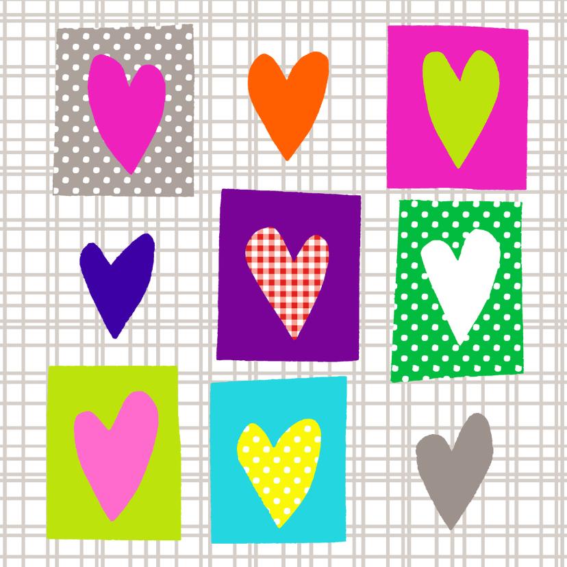 Valentijnskaarten - Felle kleuren hartjes