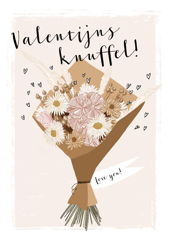 Valentijnskaarten - Geïllustreerde kaart met boho boeket en stijlvolle typo