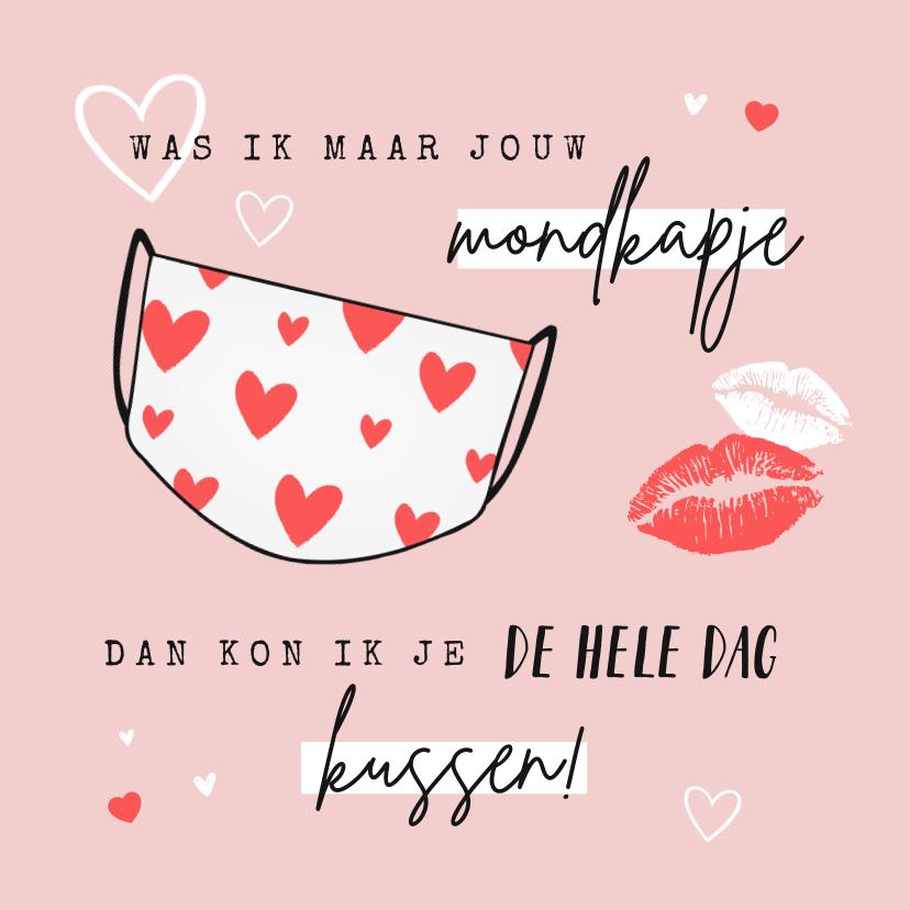Valentijnskaarten - Grappige corona valentijnskaart met mondkapje en hartjes