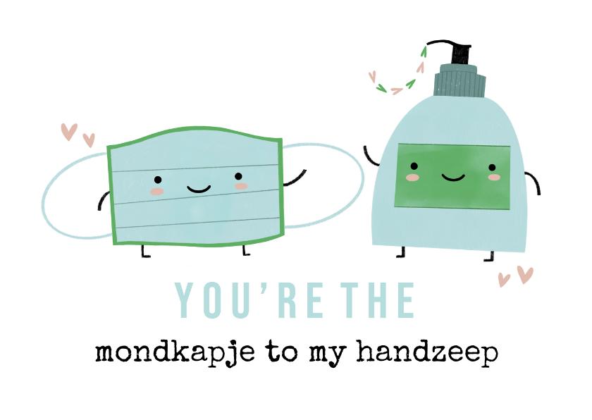 Valentijnskaarten - Grappige valentijnskaart mondmasker en handzeep illustratie