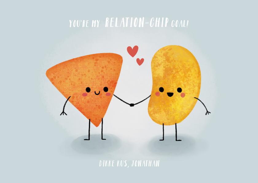 """Valentijnskaarten - Grappige valentijnskaart """"relation-chip goals"""" met chipjes"""