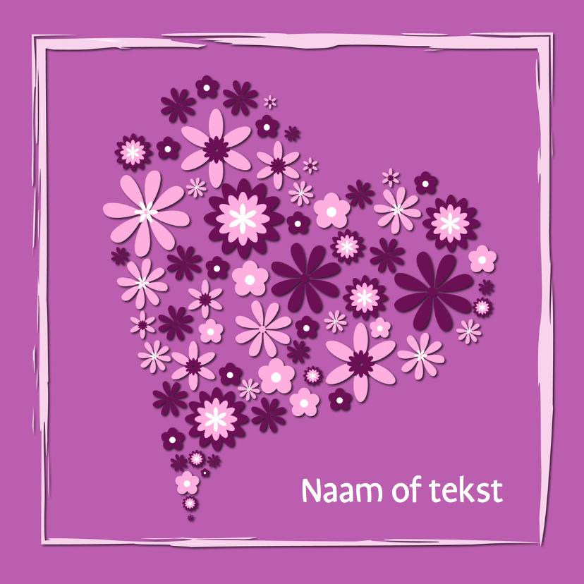 Valentijnskaarten - Hart van bloemen lila