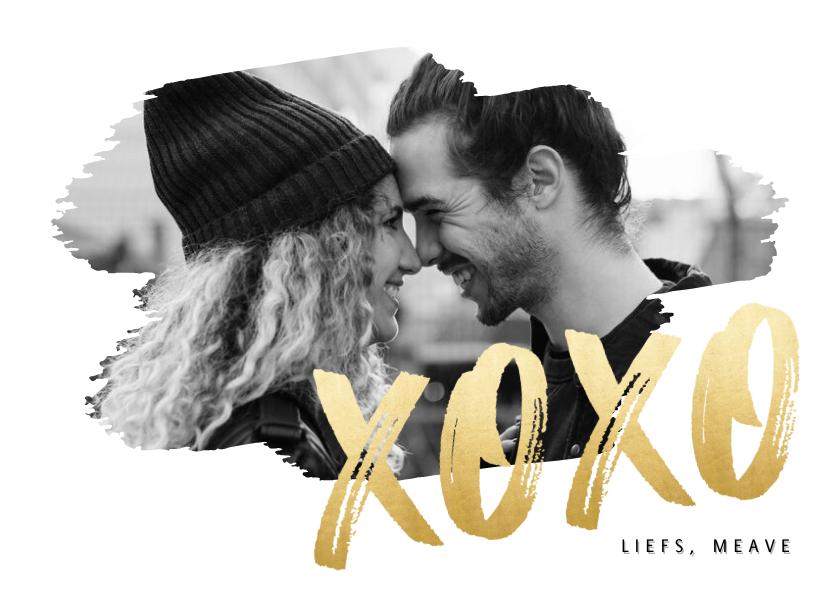 Valentijnskaarten - Hippe valentijnskaart met grote foto en gouden XOXO