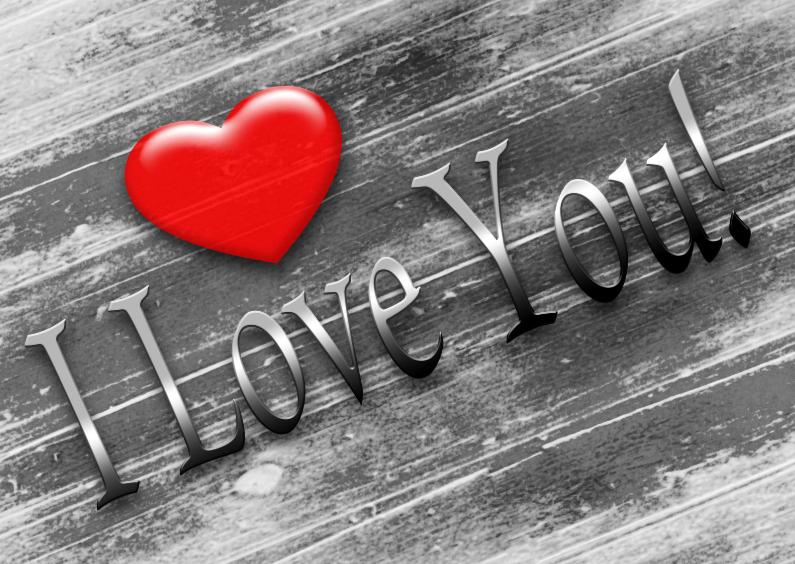 Valentijnskaarten - i love you harthout