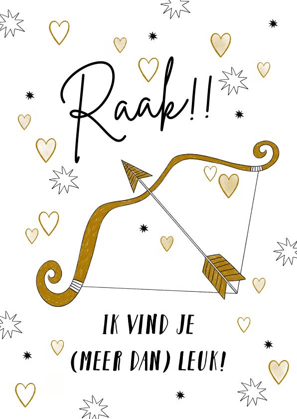 Valentijnskaarten - Leuke kaart met de pijlen van cupido en kleine hartjes