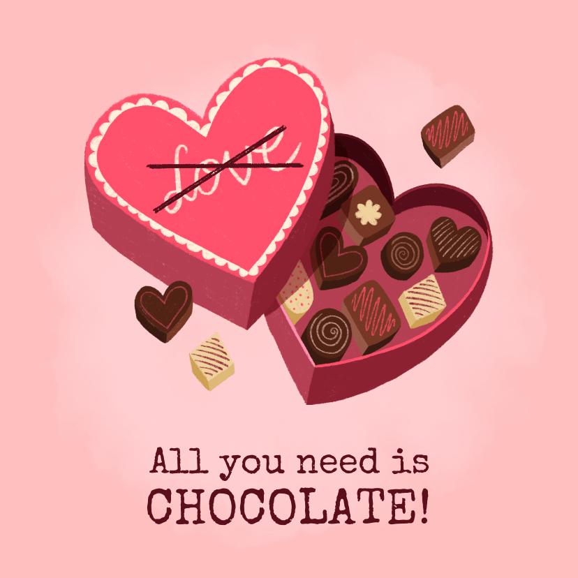 Valentijnskaarten - Leuke valentijnskaart illustratie hartvormige doos chocolade