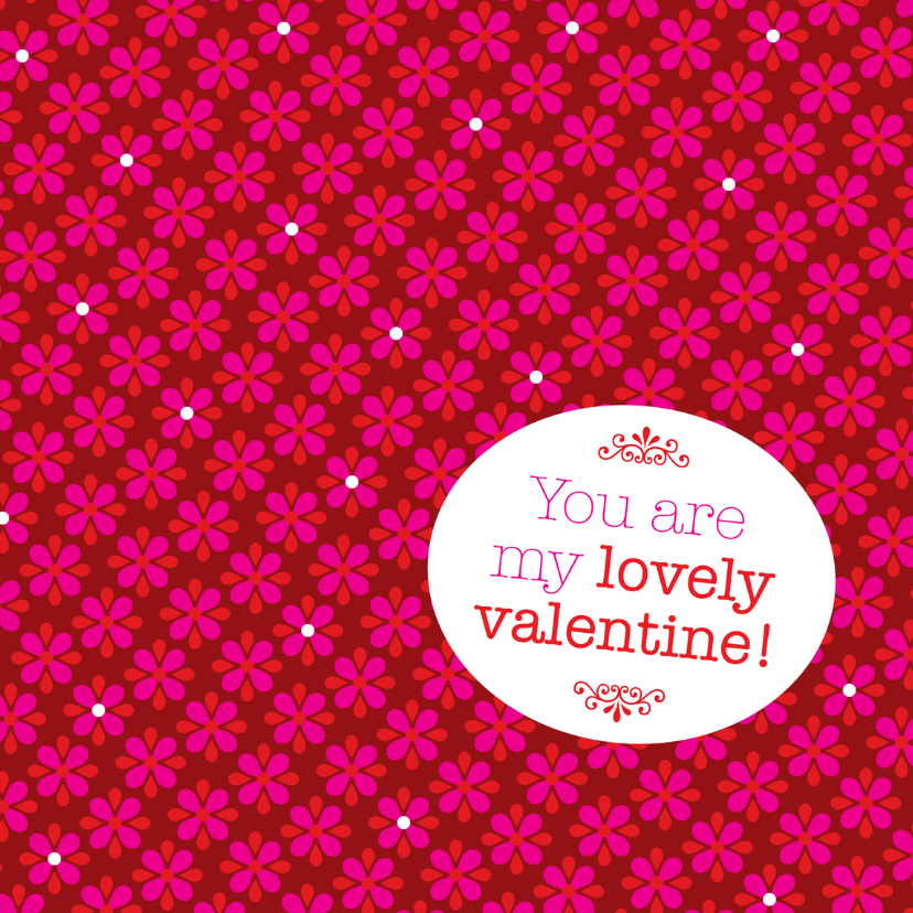 Valentijnskaarten - Lief rood bloemen valentijn kaart