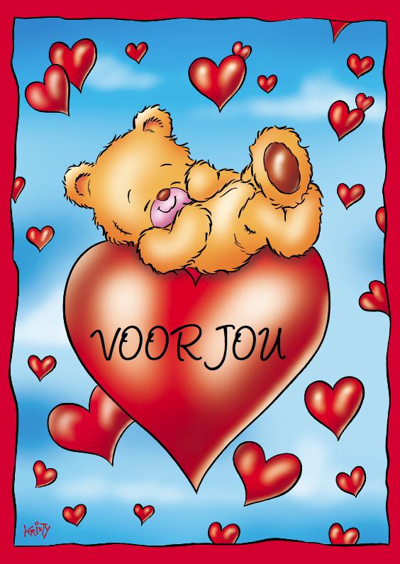 Valentijnskaarten - Liefde beertje ligt op hart