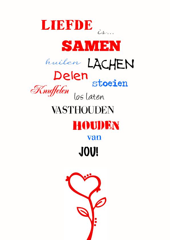 Valentijnskaarten - Liefde is woordenkaart
