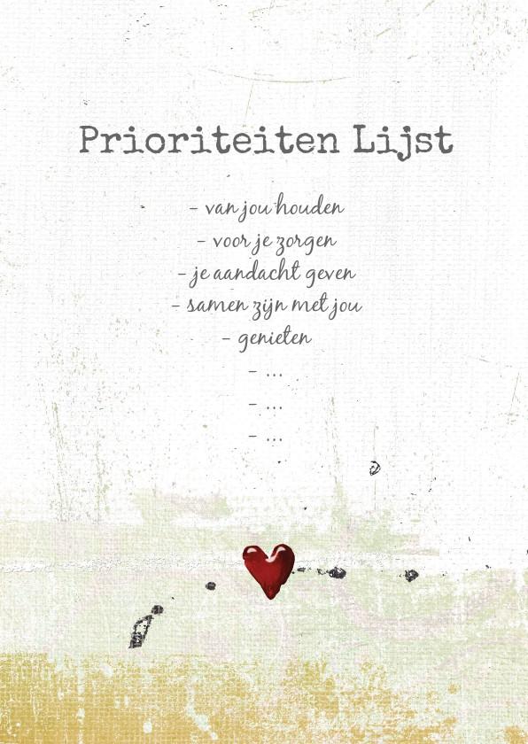 Valentijnskaarten - Liefde valentijn kaart prioriteiten lijst