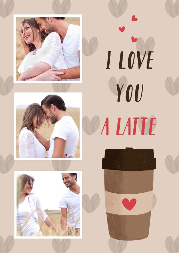 Valentijnskaarten - Liefdeskaart met een koffiebeker en hartjes