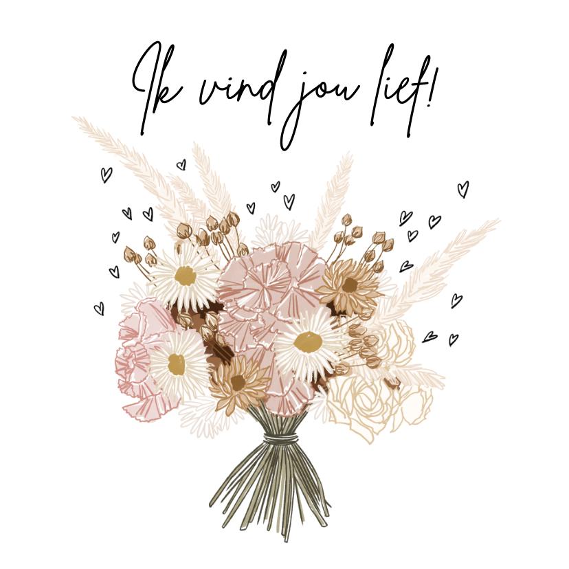 Valentijnskaarten - Lieve valentijnskaart met boeket bloemen in boho tinten