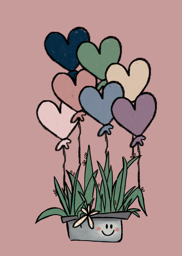 Valentijnskaarten - Lieve Valentijnskaart met cactus en hartjesballonnen