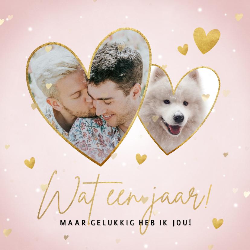 Valentijnskaarten - Lieve valentijnskaart met hartjes 'Wat een jaar!'