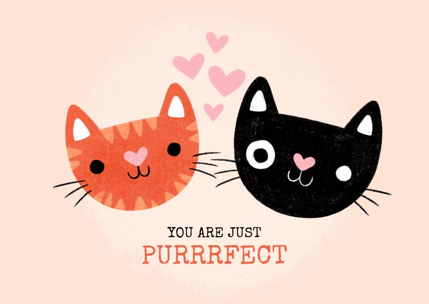 """Valentijnskaarten - Lieve valentijnskaart met katten """"You are just purrfect"""""""