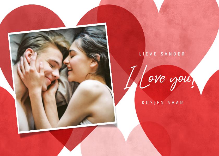 Valentijnskaarten - Lieve valentijnskaart met rode, roze hartjes en foto