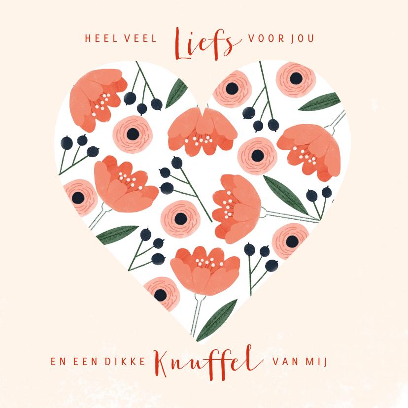 Valentijnskaarten - Lieve valentijnskaart met roze rode bloemen in hartvorm